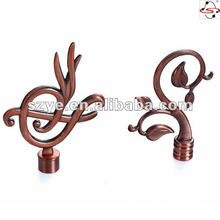 painted round window hardware curtain rod finials